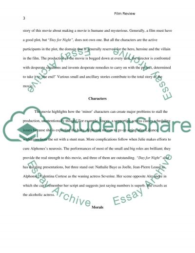 Film Review essay example