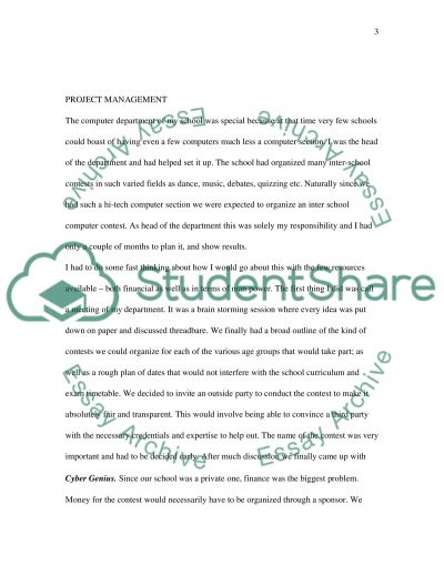 Professional or academic experience essay example
