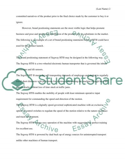 Brand Positioning Statement essay example