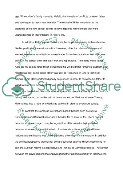 hitler deviant behavior essay example topics and well written  hitler deviant behavior essay example