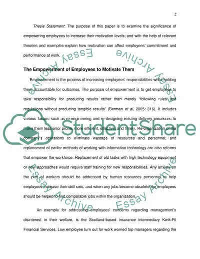 Motivation and Its Impact on Employees Commitment and Work Performance