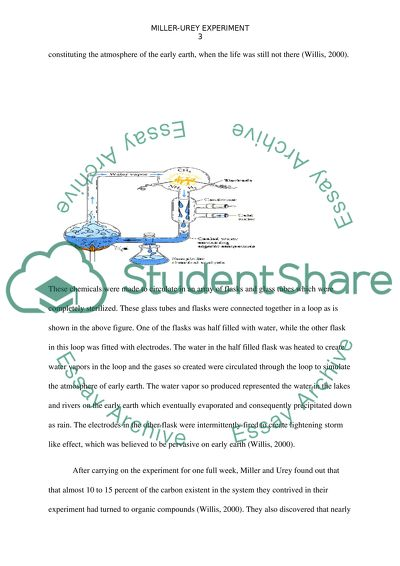 Miller-Urey Experiment Essay Example   Topics and Well