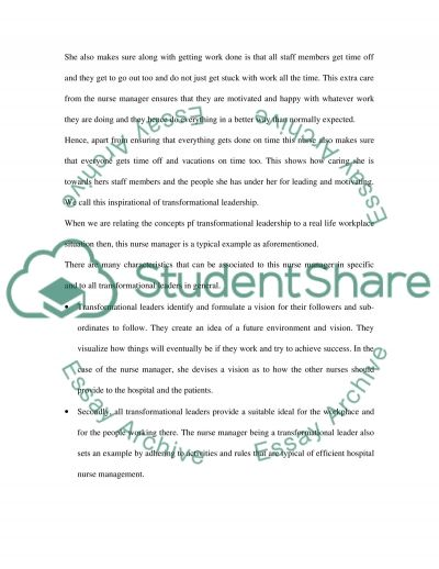 Transformational leadership and manageent syle in nursing essay example