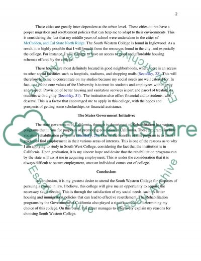 South West College essay example