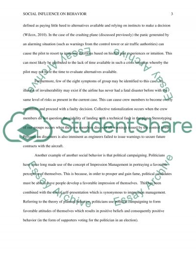 Social Influence on behavior essay example