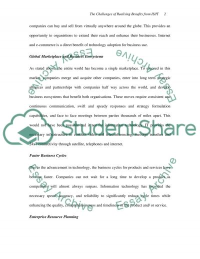 The challenges of realising benefits from ISIT essay example