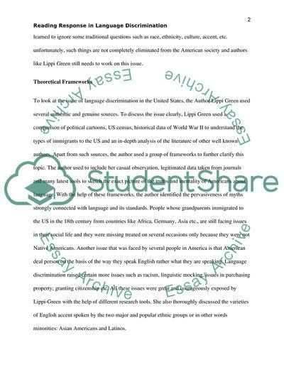 Reading response in language discrimination