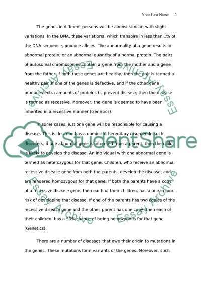 Genetics essay example