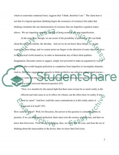 Rene Descartes Faulty Reliance essay example