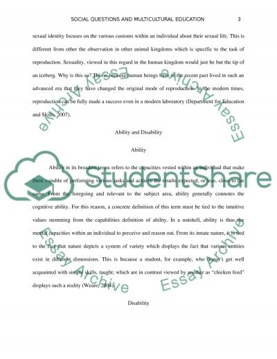 Social Questions and Multicultural Education essay example