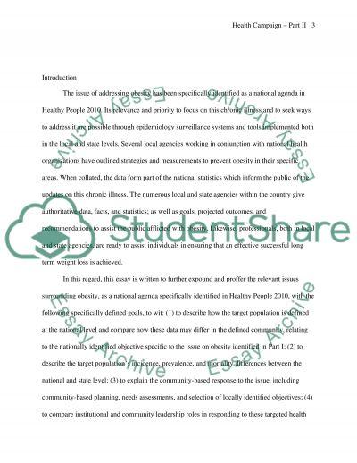 Health Campaign Part 2 essay example