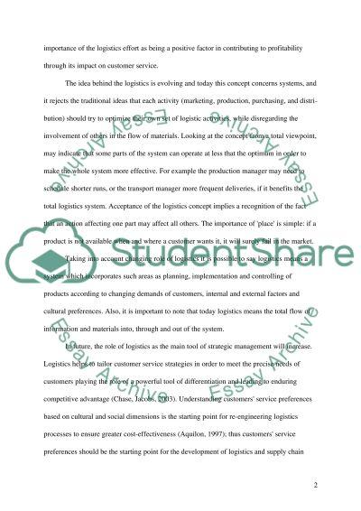 LOGISTICS & OPERATIONS MANAGEMENT 2 essay example