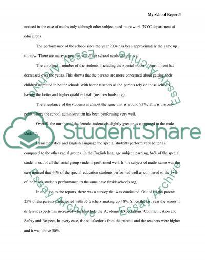 School Report essay example
