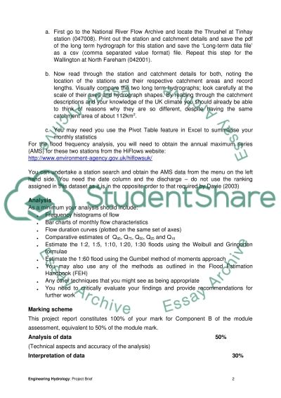 ENGINEERING HYDROLOGY Assignment essay example