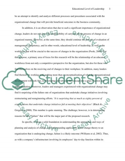 The Educational Level of Leadership and Effectiveness of Organizational Change essay example