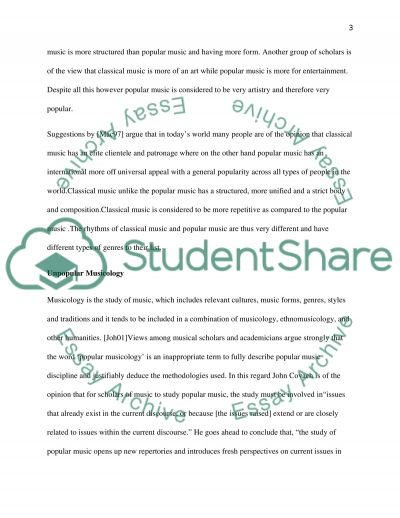 Classical and Popular Music: Appropriateness of Academic Consideration of Study Methods essay example