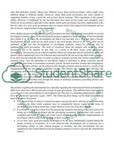 Development Aid essay example