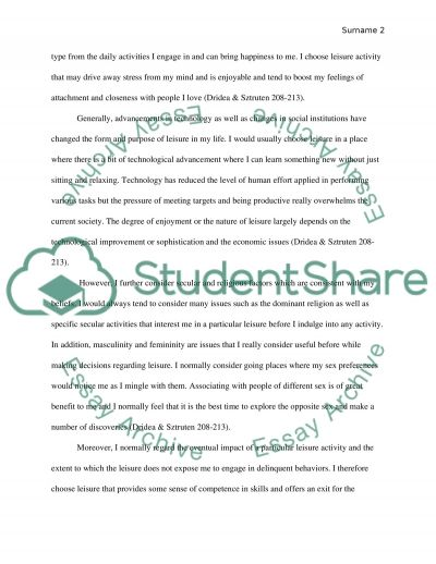 Personal Leisure Choices essay example