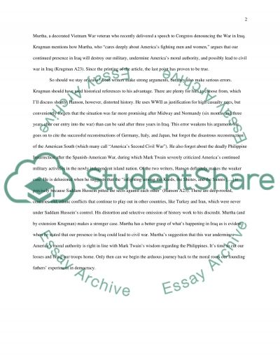 The War in Iraq: Should We Stay or Leave essay example