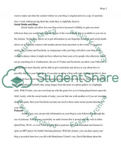 Football Blogs Essay essay example