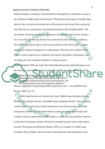 middle range nursing theory research paper example