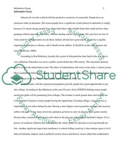 Do schools kill creativity essay