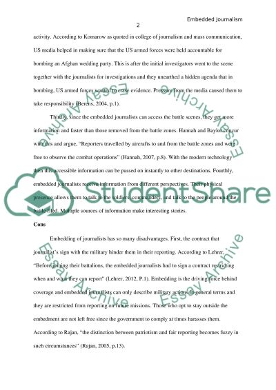 Pros and Cons of Embedded Journalism essay example