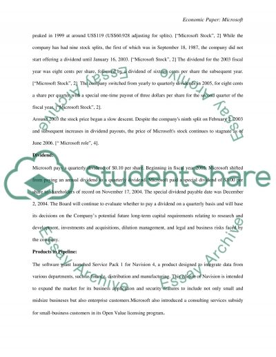 An Economic Paper: Microsoft essay example