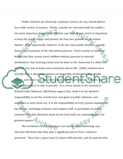 Article Critique: School Public Relations: Personnel Roles and Responsibilities essay example