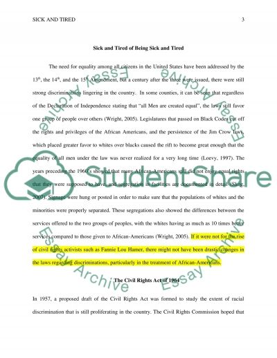 Sick and Tired of Being Sick and Tired essay example