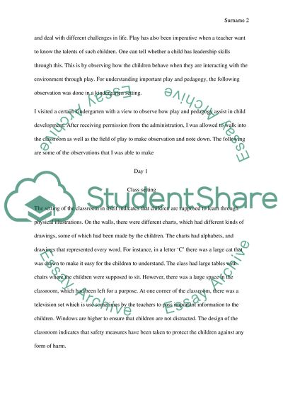 Play And Pedagogy Essay Example Topics And Well Written
