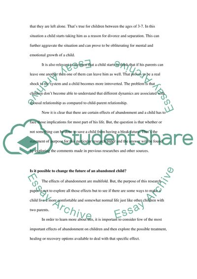 The effects of child abandonment Essay Example | Topics and