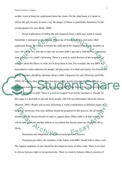 Disclosing Illness in Children essay example