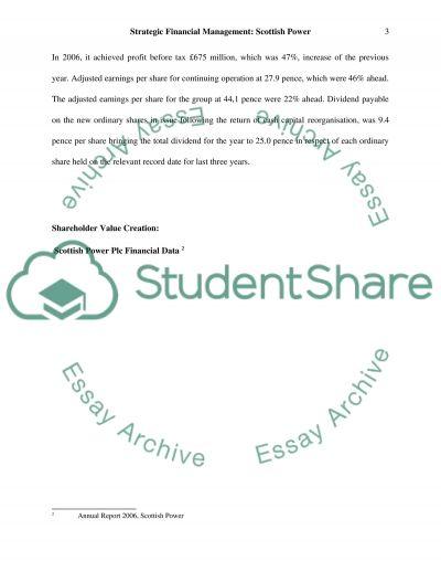 Strategic Financial Management Essay essay example