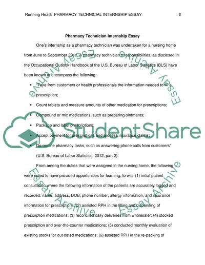 Essay paper on pharmacy technology