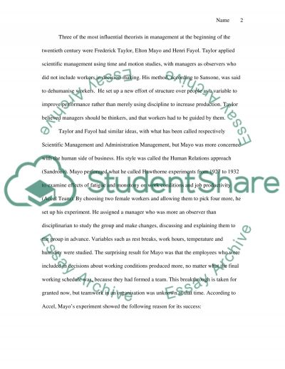 Development of Theory in Management essay example