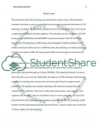 Progress Report essay example