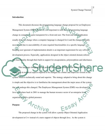 A system change tutorial and proposal letter essay example