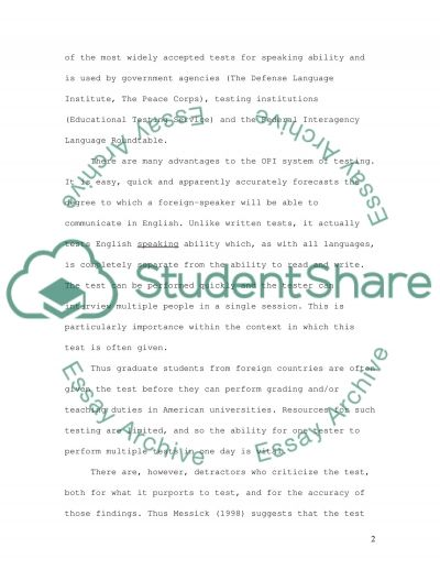 Speaking Tests essay example