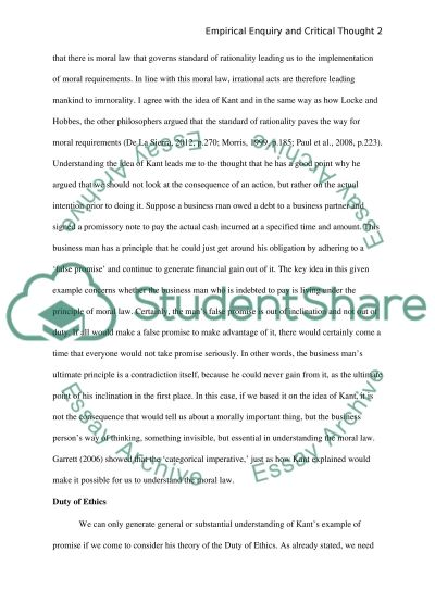 Empirical Enquiry and Critical Thought essay example