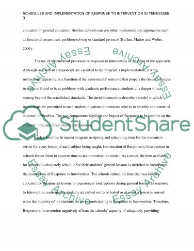 RTI^2 - Response to Intervention in Tennessee Schools essay example