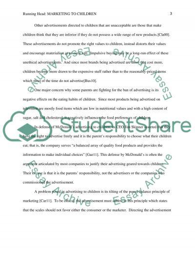 Marketing to children essay example