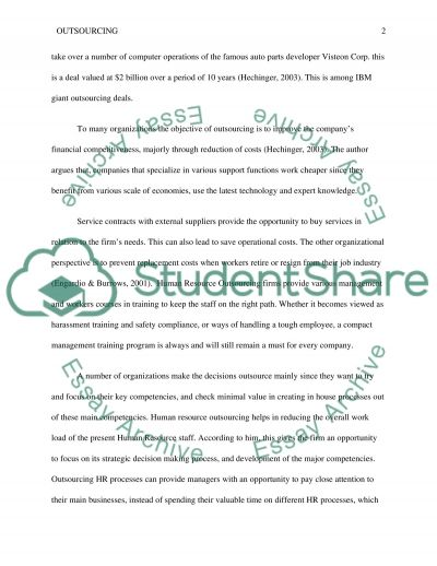 Outsourcing  Research Paper example