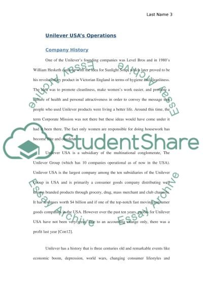 Unilever Group - analysis essay example