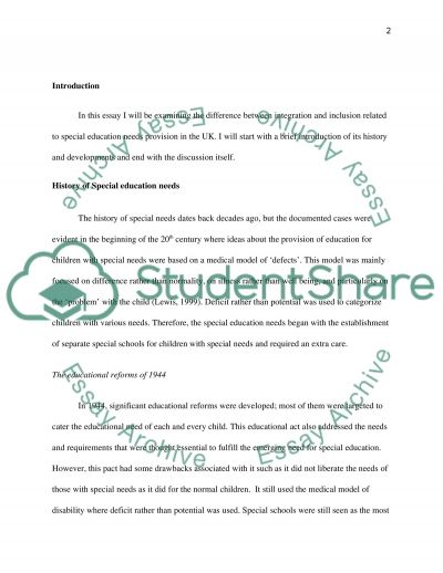 The difference between Integration and Inclusion in terms of Special Educational Needs provision in the UK essay example