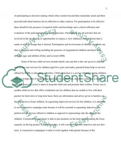 Education Children Services Analysis essay example