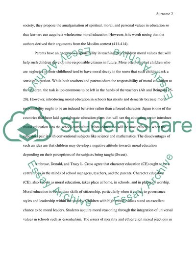 Teaching Moral Values Research Paper Example Topics and Well