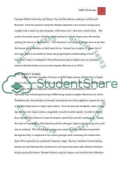 Skinput essay example