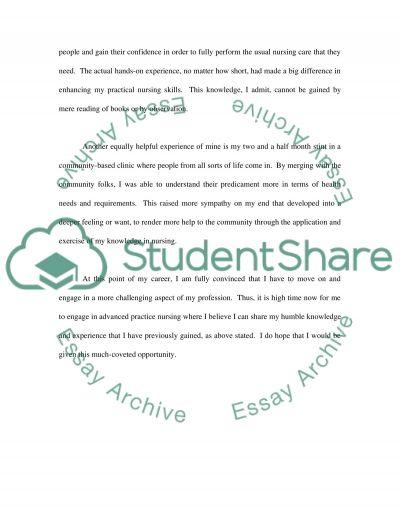 Nursing College Essay essay example