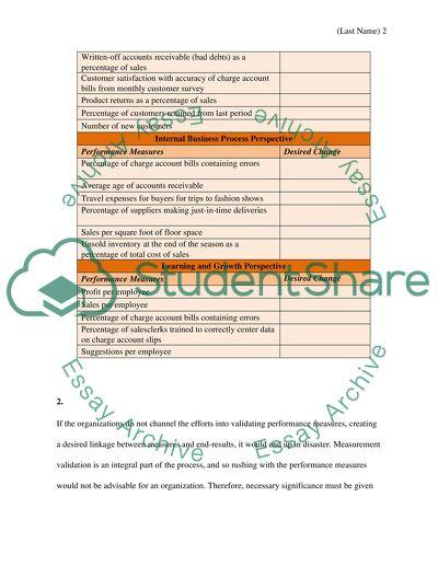 Balanced Scorecard Free Essay Example